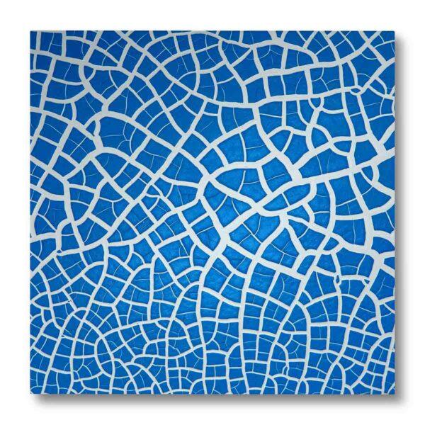 Pannellino di legno dipinto con effetto ghiaccio spaccato colore bianco e blu