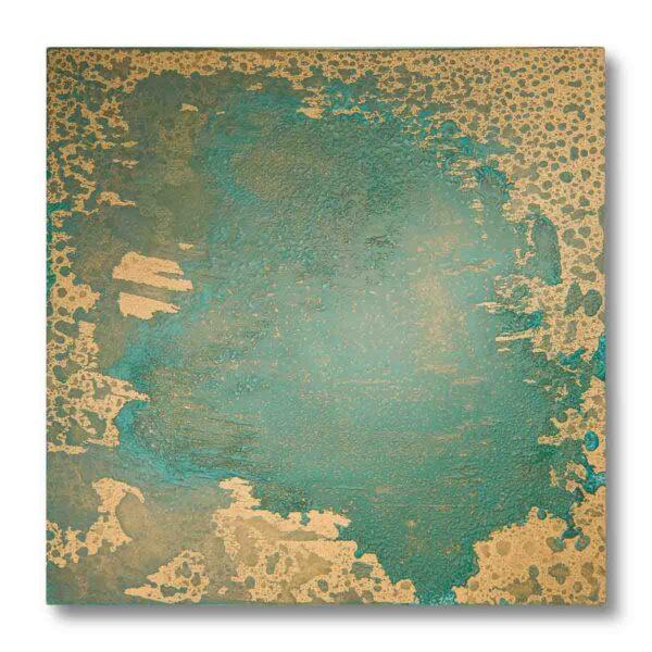 Pannellino di legno dipinto con effetto ottone ossidato colore verde ed oro, ottone ossidato